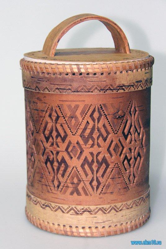 Короб берестяной с крышкой